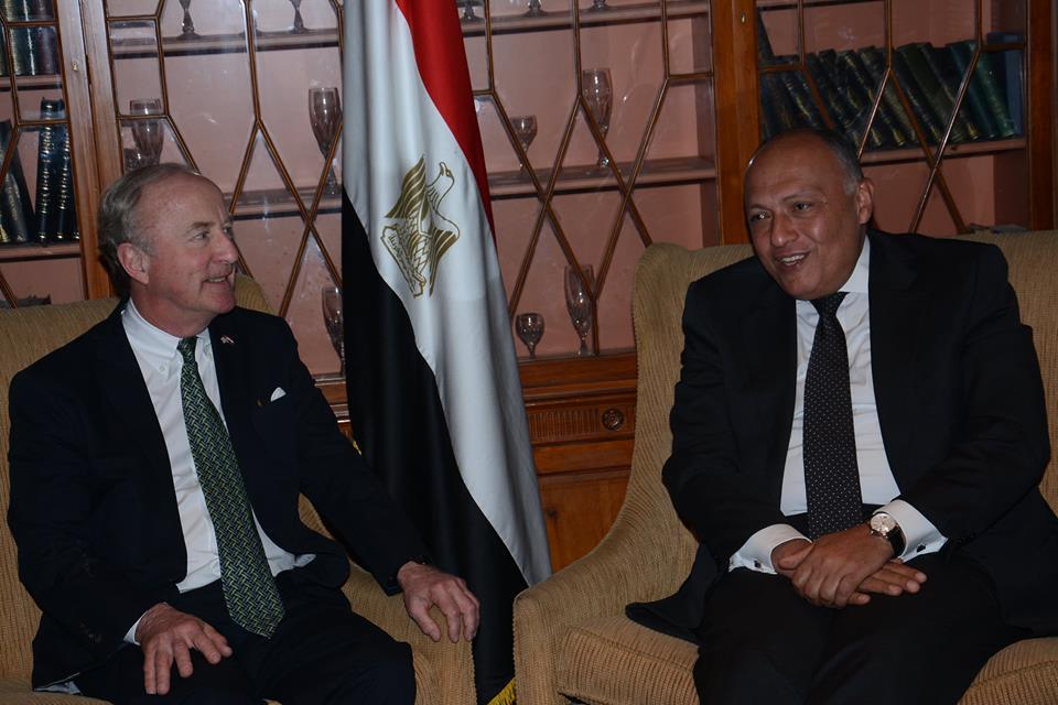Rep. Rodney Frelinghuysen and FM Sameh Shoukry at Saturday meeting   (Photo Foreign Ministry handout)