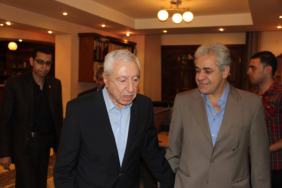Al-Tayar Al-Shaaby founder Hamdeen Sabahy (right) met with Palestinian Liberation Front Secretary General Nayef Hawatmeh to discuss the current political scene in the Arab World. (Photo Al-Tayar Al-Shaaby handout)
