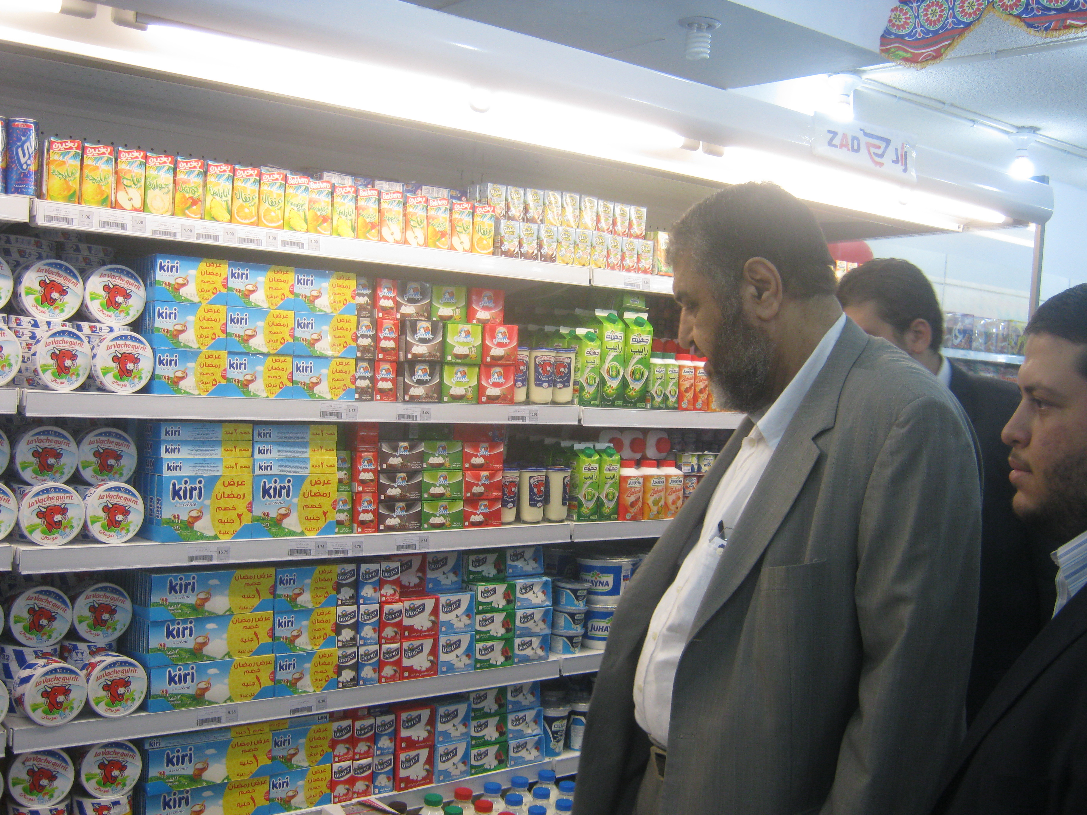 "Khairat Al-Shater, the business man and the Muslim brotherhood leader opens ""Zad"" Supermarket in Nasr City. Muslim brotherhood, Islamist, businessman, finance, market (Photo by Mohamed Omar)"