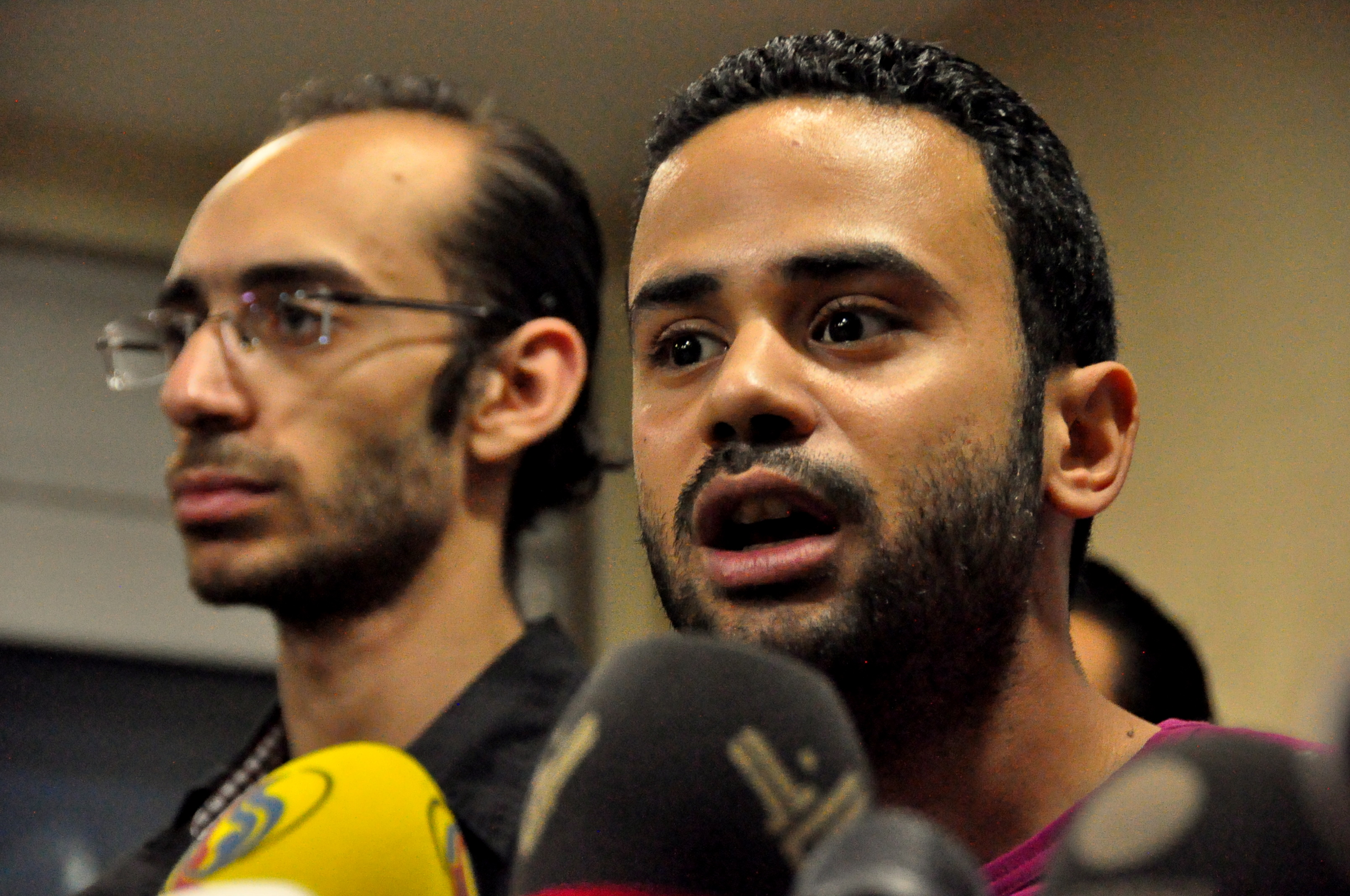 Mahmoud Badr (right) was the victim of a robbery and hijacking on Monday.