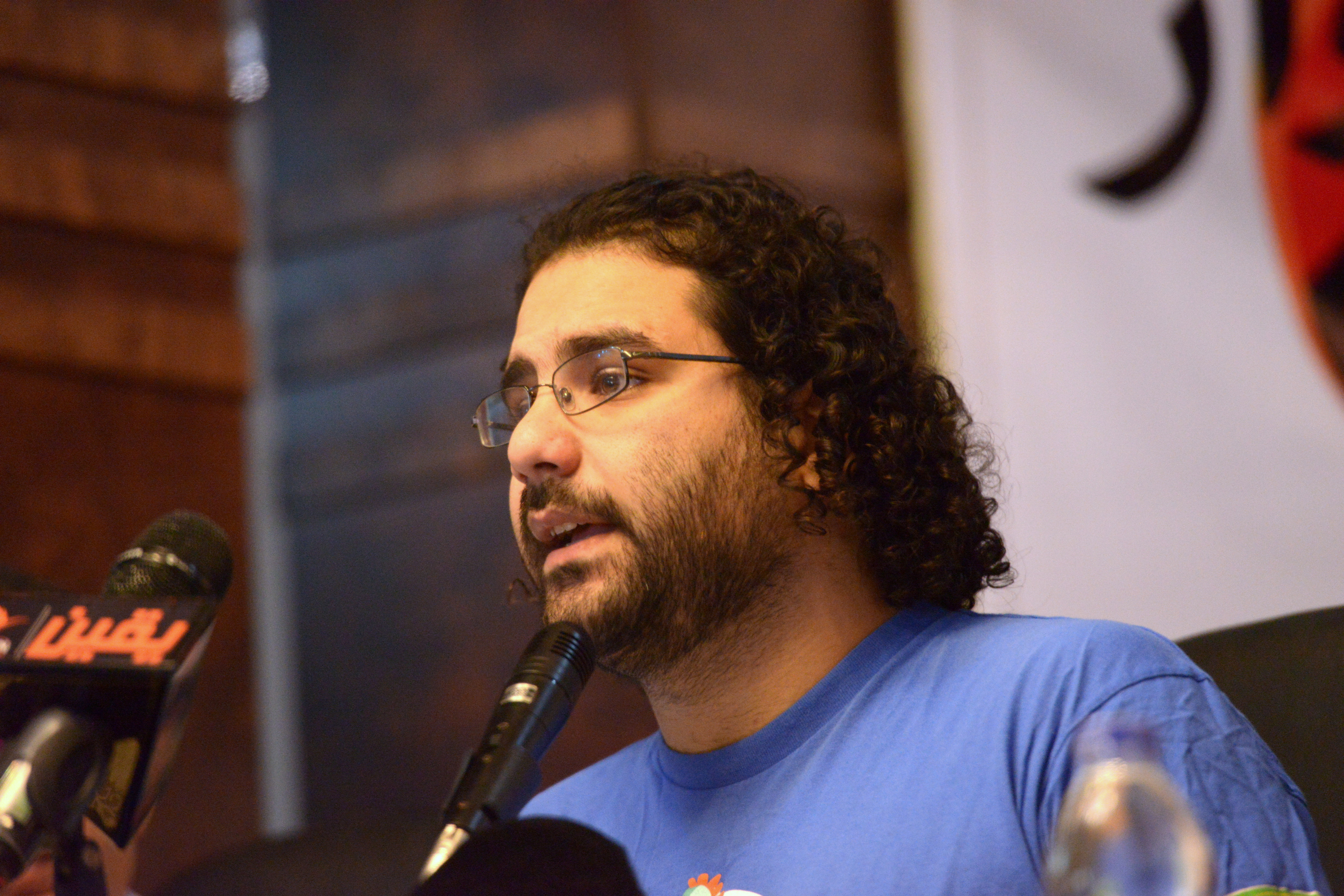 Alaa Abdel Fattah is accused of violating the Protest Law during the No Military Trial protest organised in front of Al-Shura Council on 26 November, 2013 (Photo By Aaron T.Rose\DNE File)