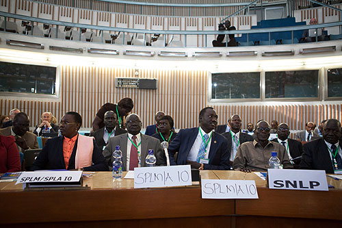 The wife to the South Sudanese rebels leader Reik Machar, Angelina Teny (L) attends with several other South Sudanese Opposition delegates the opening ceremony of the Intergovernmental Authority on Development (IGAD) symposium on the crisis in South Sudan, at the United Nations Economic Commission for Africa (UNECA) headquarters in Addis Ababa, on June 6, 2014.  (AFP Photo)