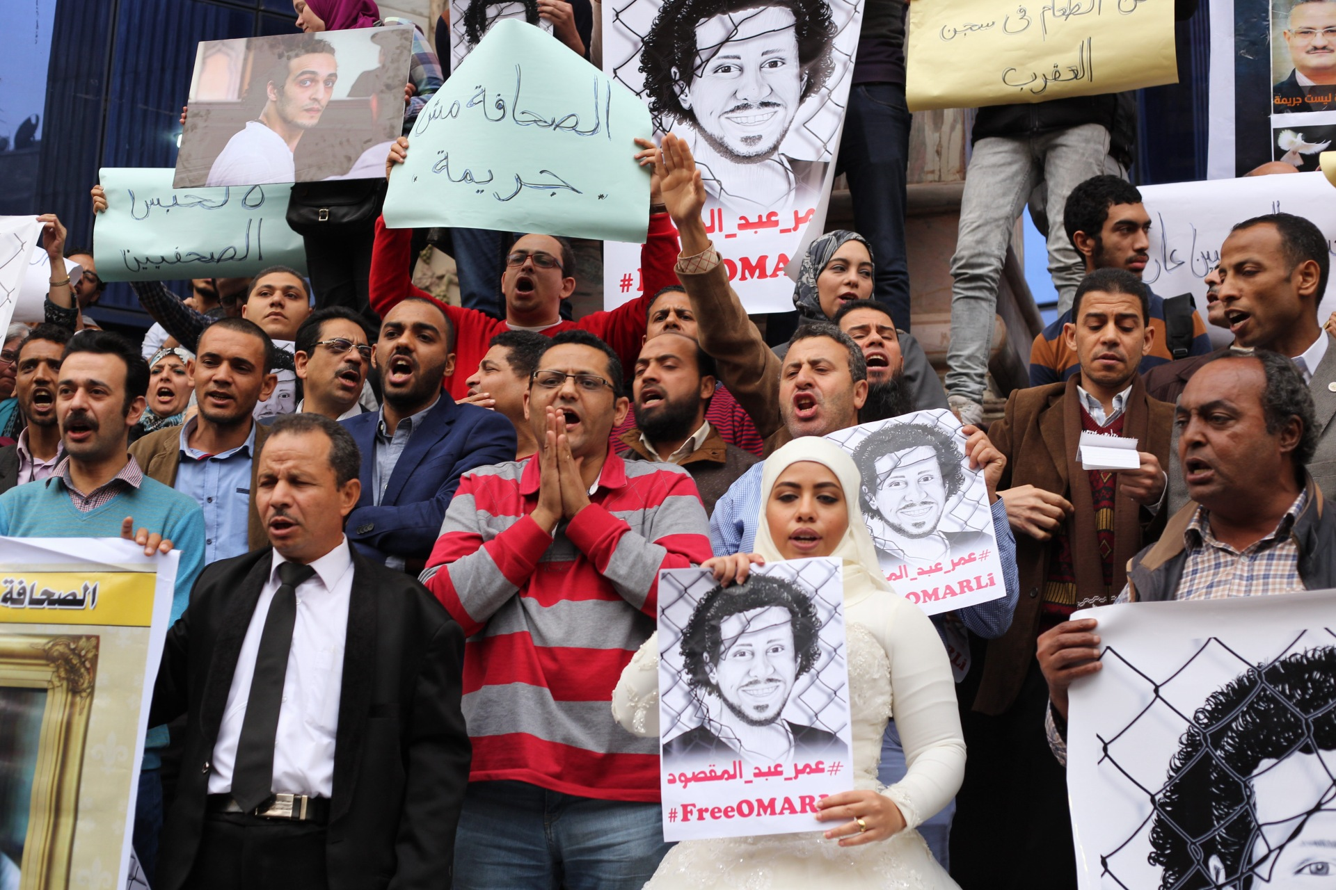 Journalists protest at Press Syndicate in March 2016 demanding medical treatment and release of detained colleagues. (Photo by Ahmed Hendawy)