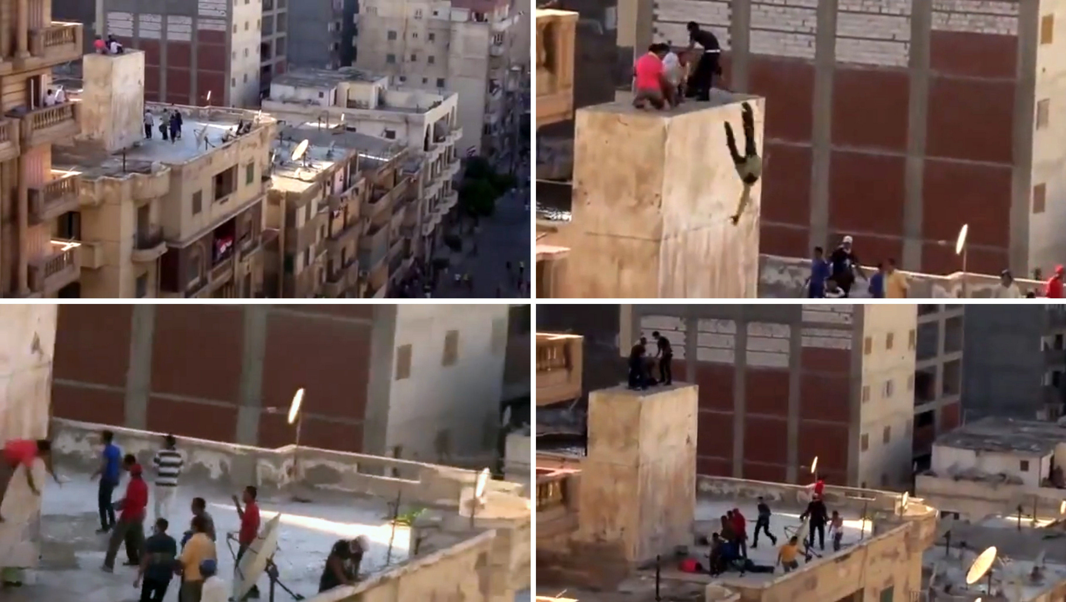 A combo of image grab taken from a video uploaded to YouTube on July 5, 2013, shows an unidentified group of men taking refuge atop of a building while being surrounded by another group of men (Top-L), hurled of a ledge onto the roof of a building (Top-R, Bottom-L), and then beaten (Bottom-R) during clashes between opponents and supporters of deposed Egyptian president Mohamed Morsi in the Sidi Gaber neighbourhood in the northern coastal city of Alexandria. (AFP Photo)