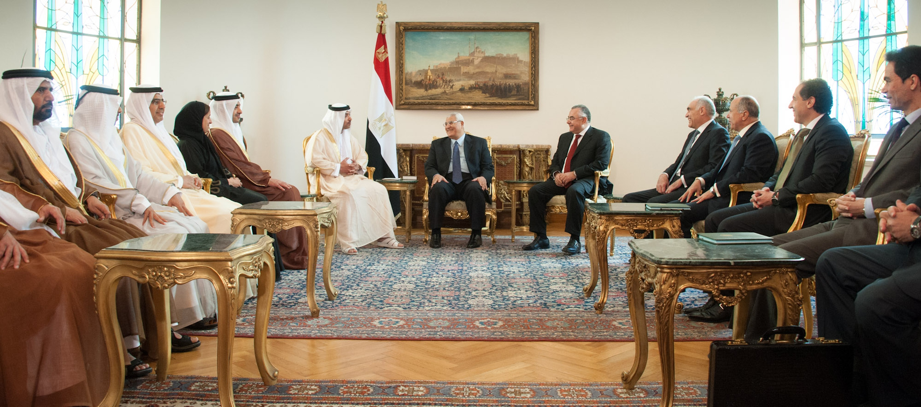 A handout picture released by the Egyptian Presidency shows Egypt's interim president Adly Mansour (C) meets with UAE National Security Chief Sheikh Hazza bin Zayed al-Nahyan (C-L) on July 9, 2013 in the Egyptian capital Cairo. (AFP Photo)