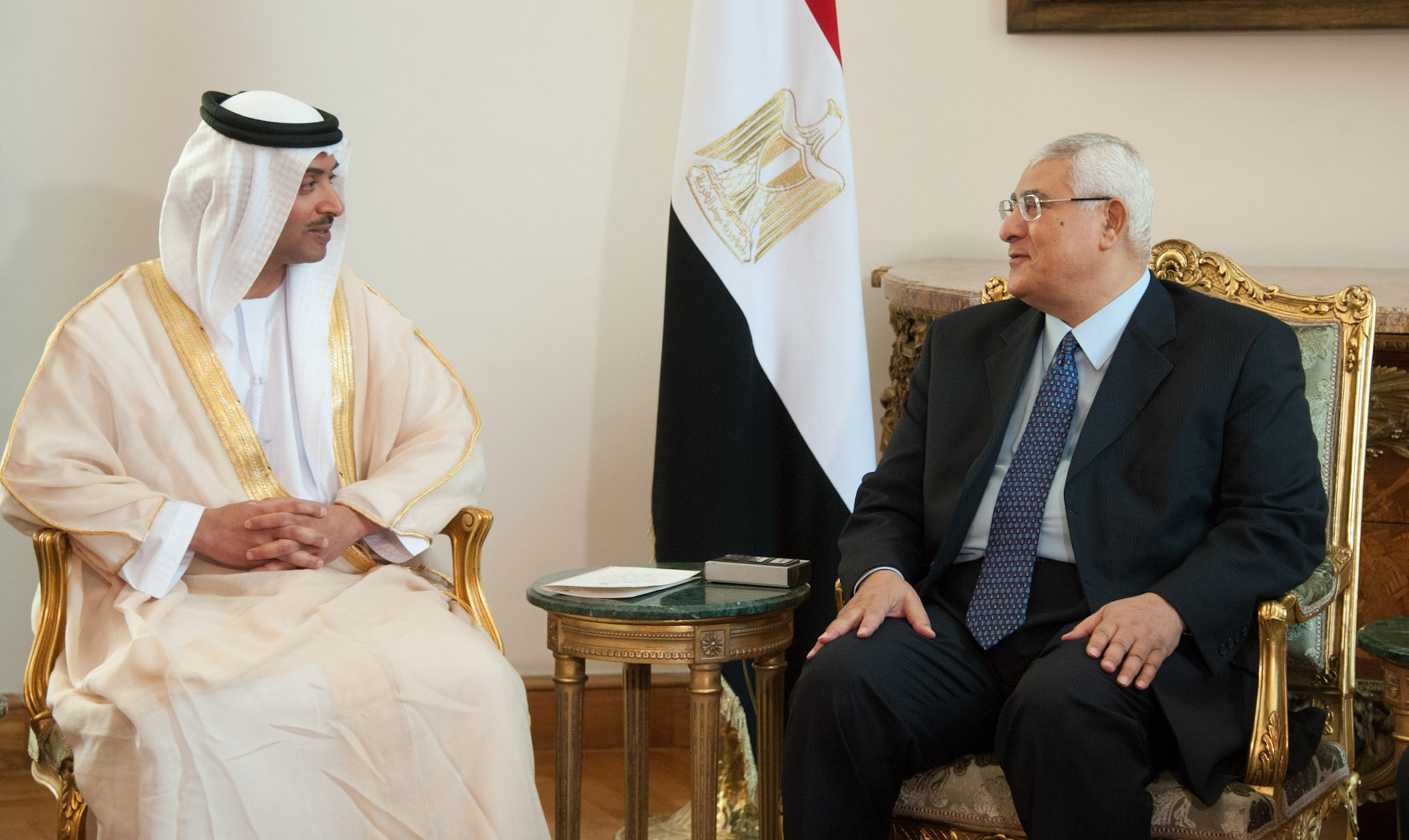A handout picture released by the Egyptian Presidency shows Egypt's interim president Adly Mansour (R) meets with UAE National Security Chief Sheikh Hazza bin Zayed al-Nahyan on July 9, 2013 in the Egyptian capital Cairo.  (AFP Photo)