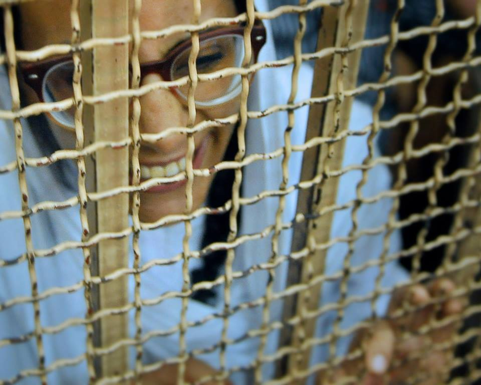 Award-winning lawyer Mahienour El-Massry appears in court on Saturday appealing a verdict sentencing her to two years in prison (Photo by Ahmed Nagy/ Courtesy of the Free Mahienour Facebook Page)