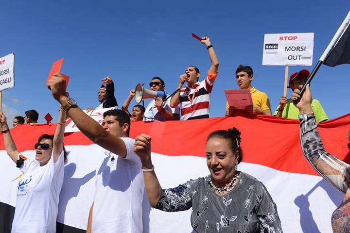 Egyptians gathered in Geneva Switzerland on Sunday demanding that Morsi steps down (Photo from the Official Page for Al-Dostour Members Abroad)