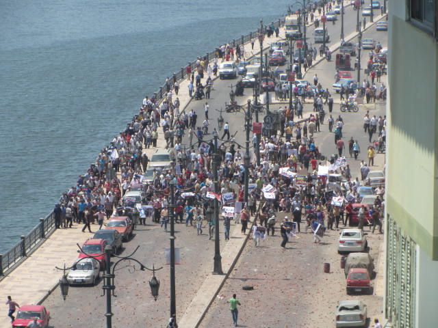 A Pro-Morsi was halted by local residents in the port town of Damietta and clashes ensued  (Photo courtesy of 6 April movement)