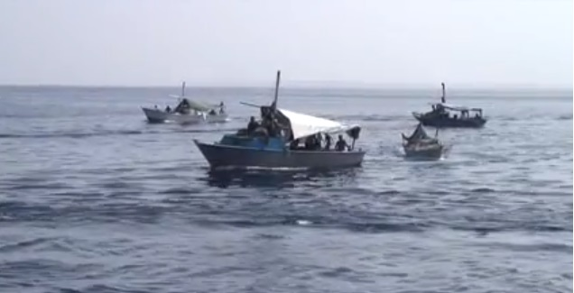 Fishing boats have been spotted on video illegally fishing in protected areas in Ras Mohamed  (Screen grab from video by Denis Zorzin)