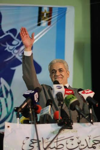 Nasserist Hamdeen Sabahy delivered a speech regarding his electoral platform in the industrial city of Mahalla in Gharbeya on Monday, with an especial focus on labour rights. (Photo Courtesy of Hamdeen Sabahy's presidential campaign)