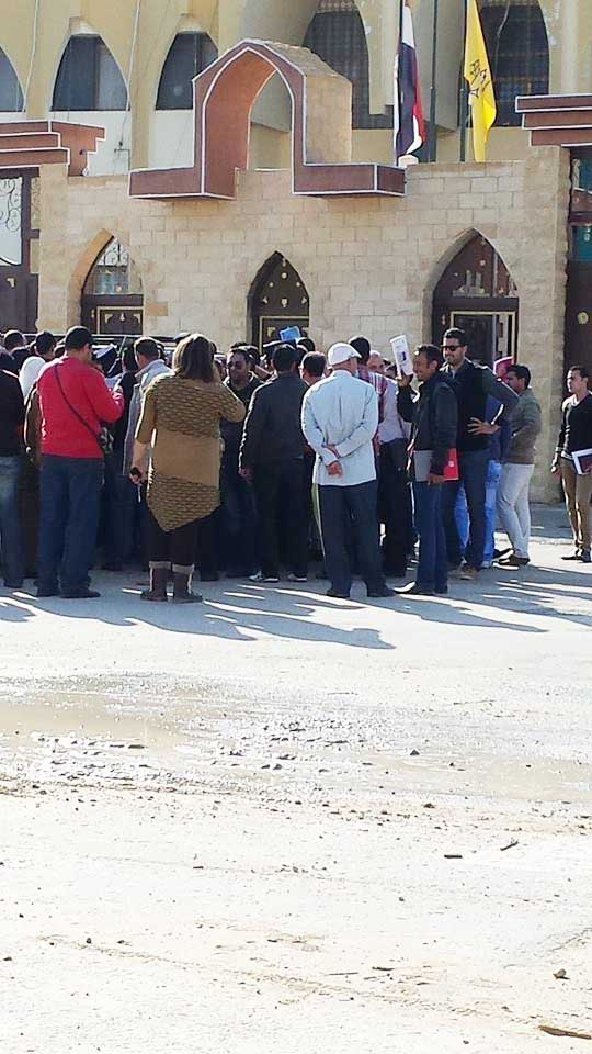 Teachers waiting to meet the North Sinai governor to discuss the impact of security measures on their lives. Two days later, on November 20, the governor ordered the indefinite closure of schools in Sheik Zuweid and Rafah   (DNE Photo)