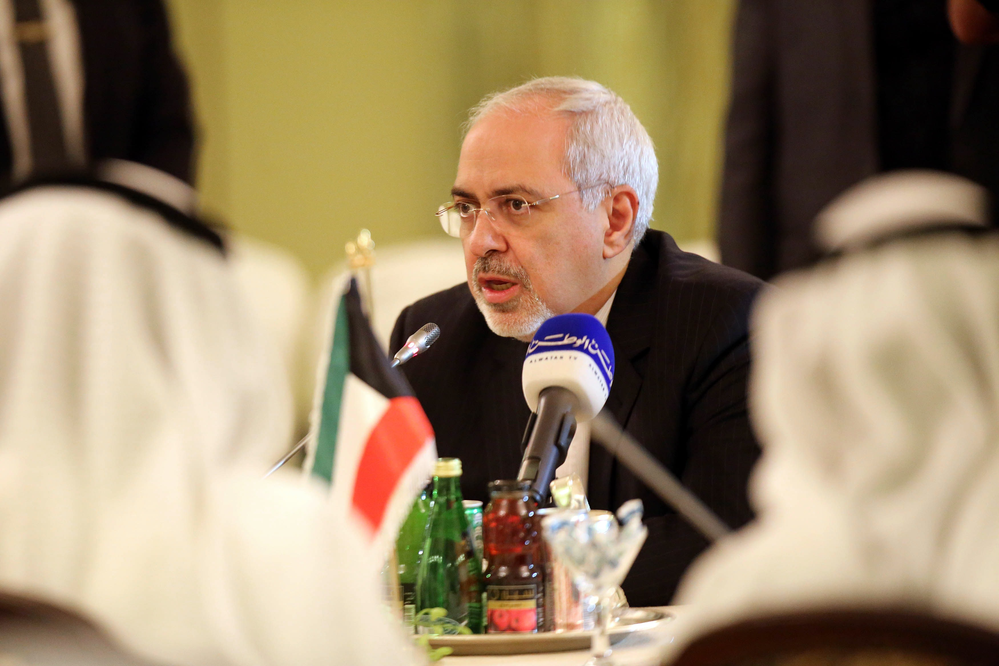 Iranian Foreign Minister Mohammad Javad Zarif speaks during second joint high committee meeting between Kuwait and Iran at the foreign ministry in Kuwait city on Sunday (AFP PHOTO/YASSER AL-ZAYYAT)