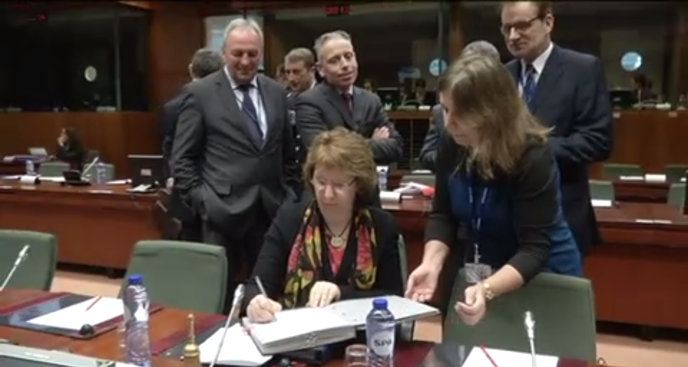European Union High Representative for Foreign Affairs and Security Policy Catherine Ashton at the EU Foreign Affairs Council in Brussels on Monday (Photo Screenshot from European Union Council TVNewsroom)