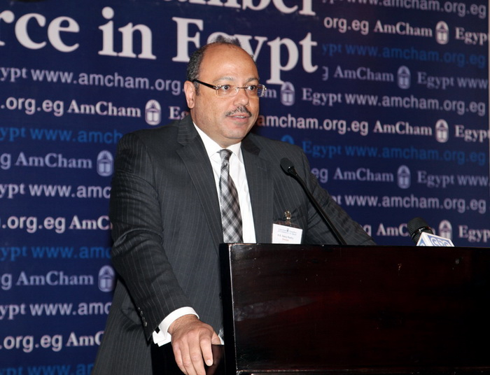 Minister of Finance Hany Kadry Dimian during the press conference (Photo courtesy of the American Chamber)