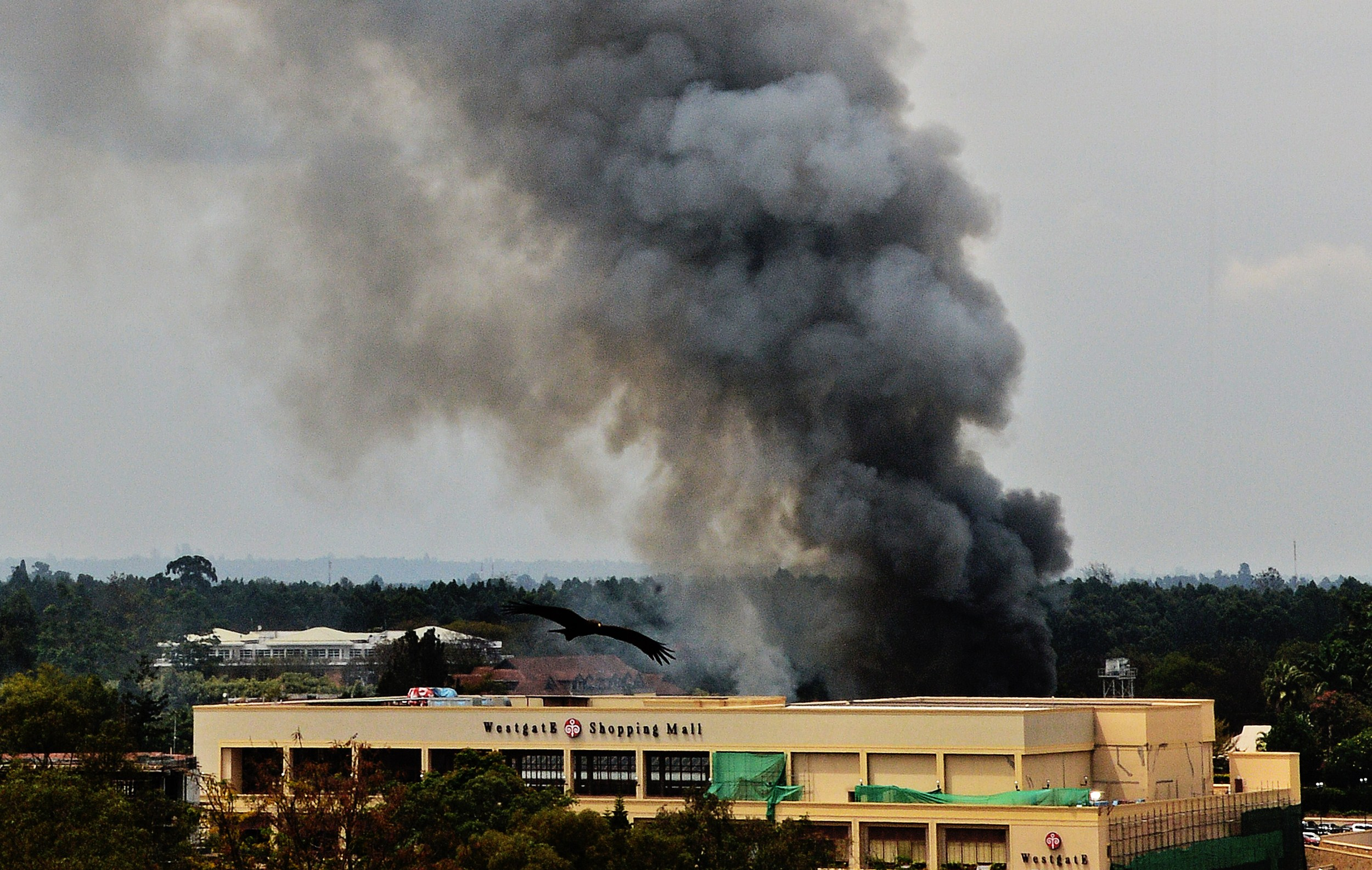 Smoke rises from the Westgate mall in Nairobi on Monday (AFP PHOTO / CARL DE SOUZA)