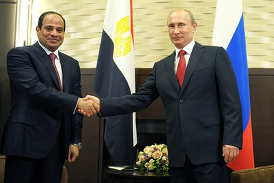 Al-Sisi and Putin discussed cooperation on a number of levels during their Tuesday meeting. (Handout from the Kremlin)