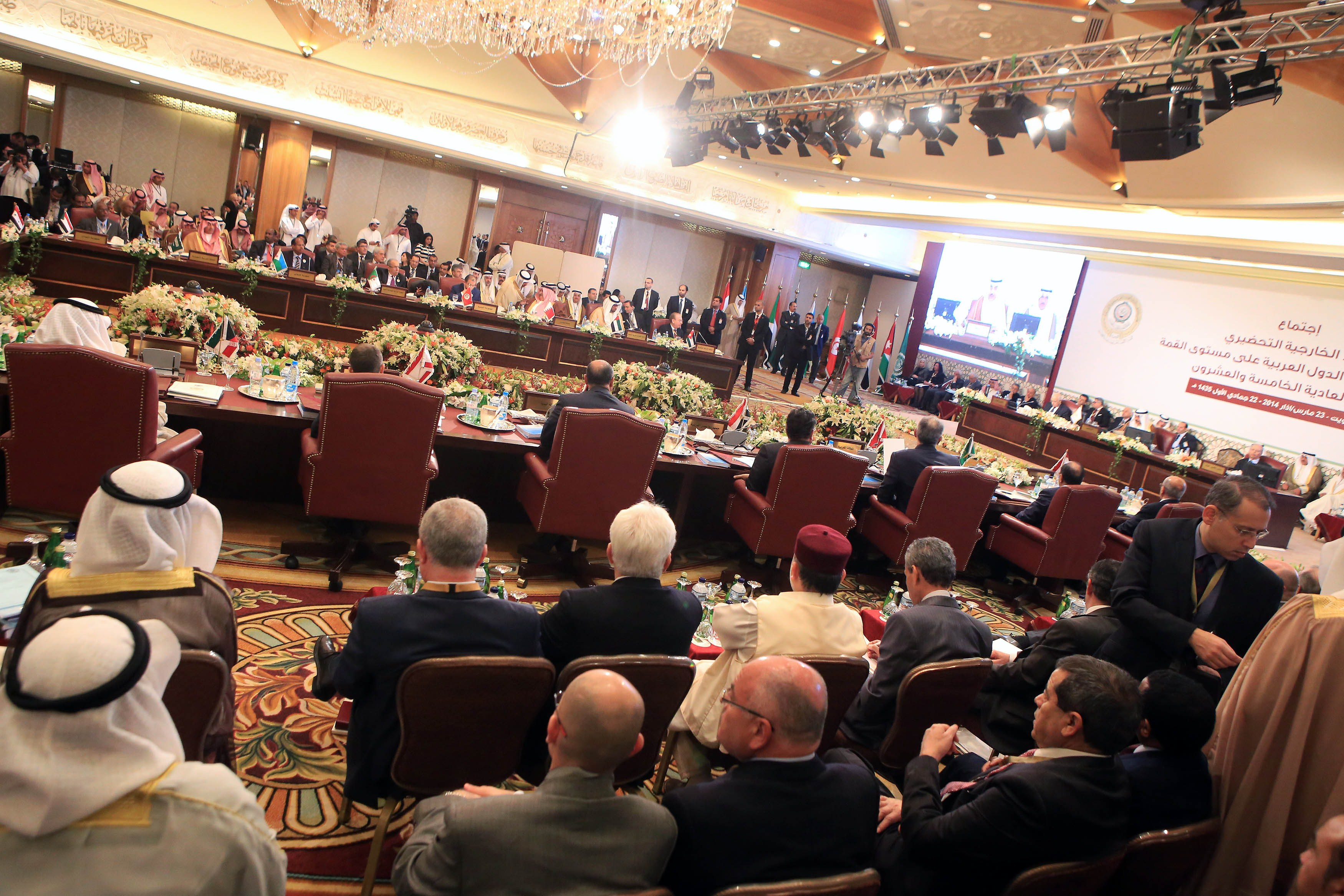A general view of the opening session of the Arab League Foreign ministers's meeting in preparation for the Arab Summit in Kuwait City, on March 23, 2014.  (AFP PHOTO/YASSER AL-ZAYYAT)
