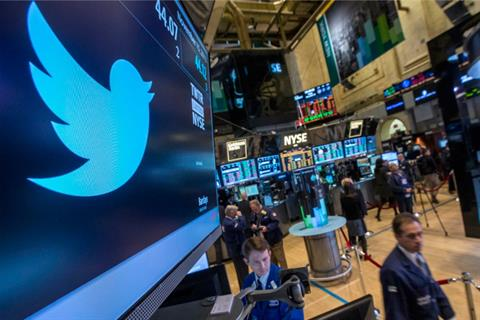 The Twitter symbol is displayed at the post where the stock is traded on the floor of the New York Stock Exchange on 15 November 2013. (Reuters Photo)