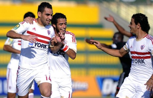 Egypt's Zamalek players celebrate after scoring a goal against South Africa's Oralando Pirates on 1 Septmeber (AFP Photo)