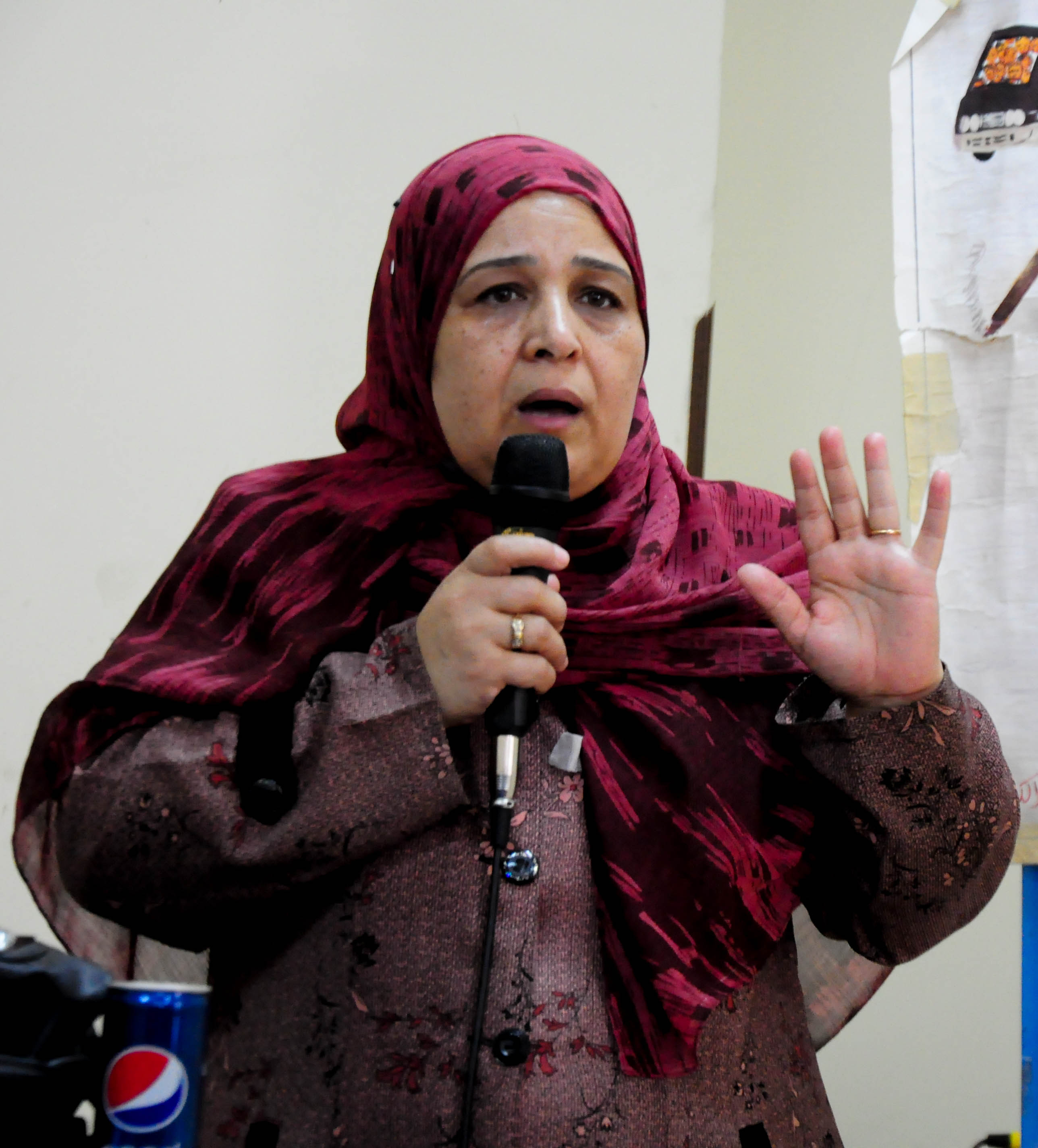 Dr. Azza Salama, who works at a government health clinic in Dar El-Salam, addresses a crowd of about 100 women in the Ezbet-Khairalla neighborhood of Cairo (Photo by Marwa Morgan)