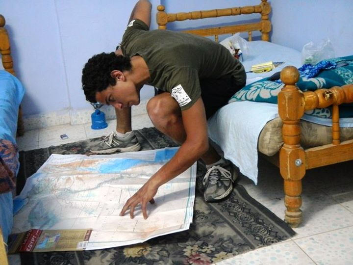 As a part of his preparation, Chatila, who took a semester off college, studies maps and marks spots where supplies, such as food and water, will be available. (Photo Handout from Galal Zikri-Chatila Facebook page)