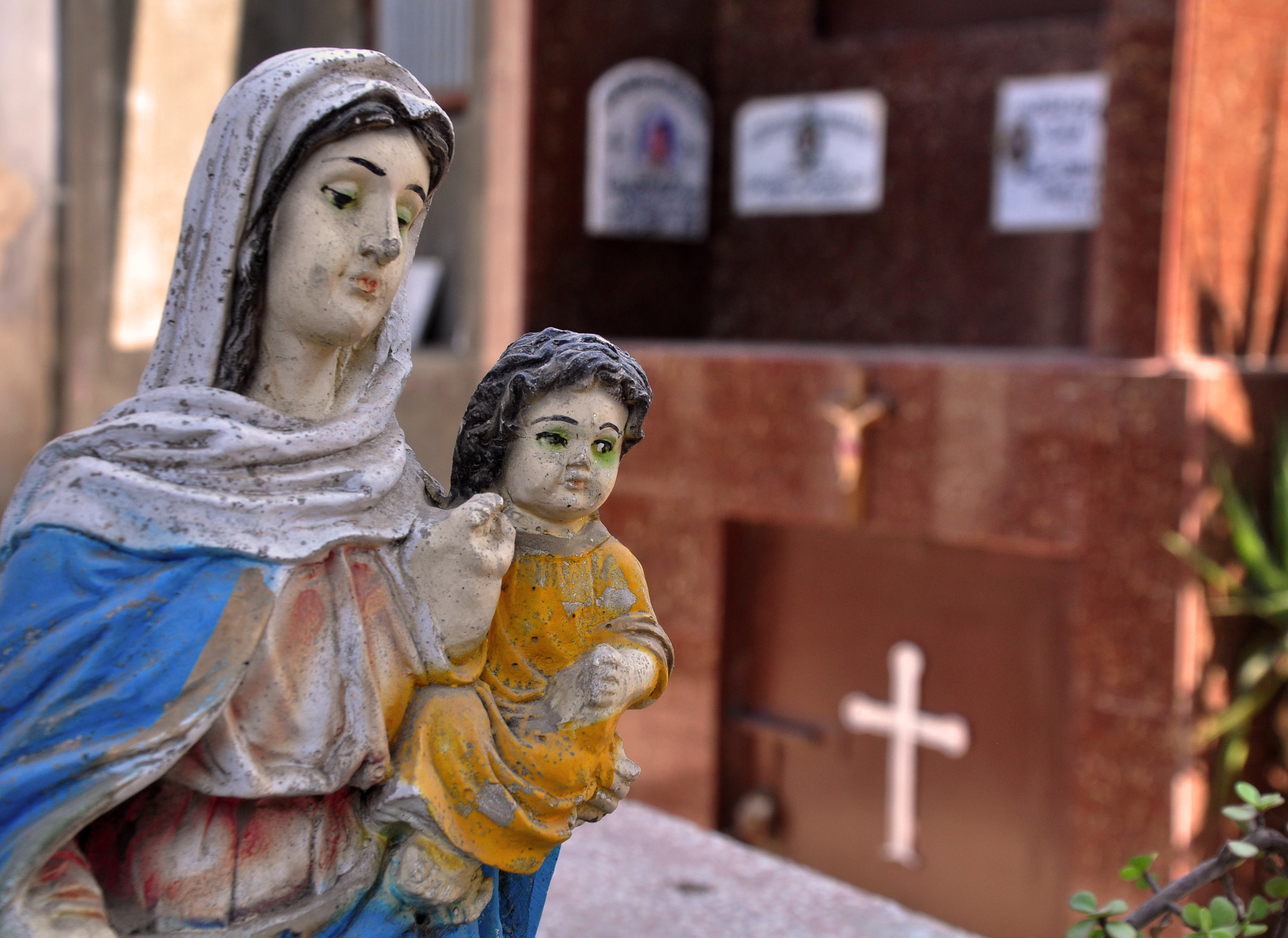 A statue of the Virgin Mary in the Maronite graveyard in Mar Al-Kadima, Cairo. (Photo by Marwa Morgan)