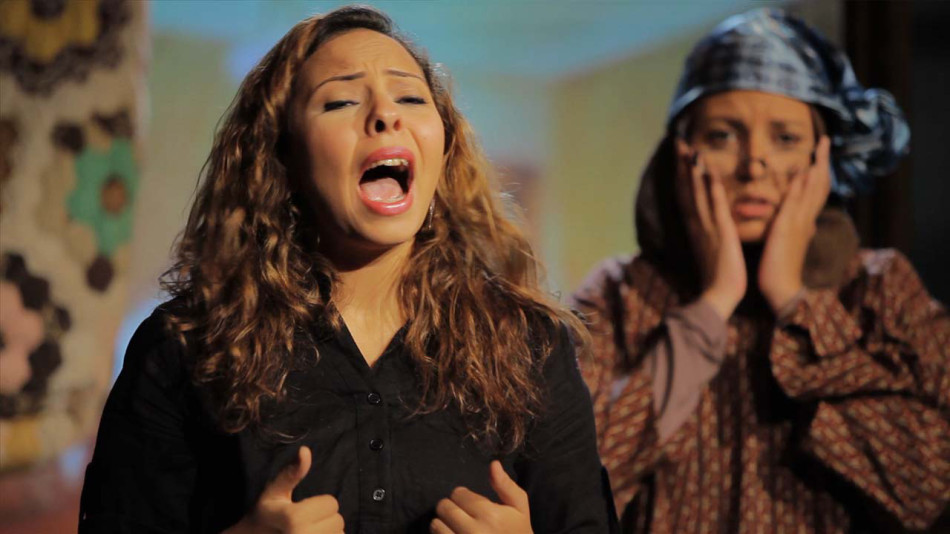An actress performs a monologue addressing gender issues in Egypt during one of BuSSy's theatre performances (Photo Courtesy of BuSSy)