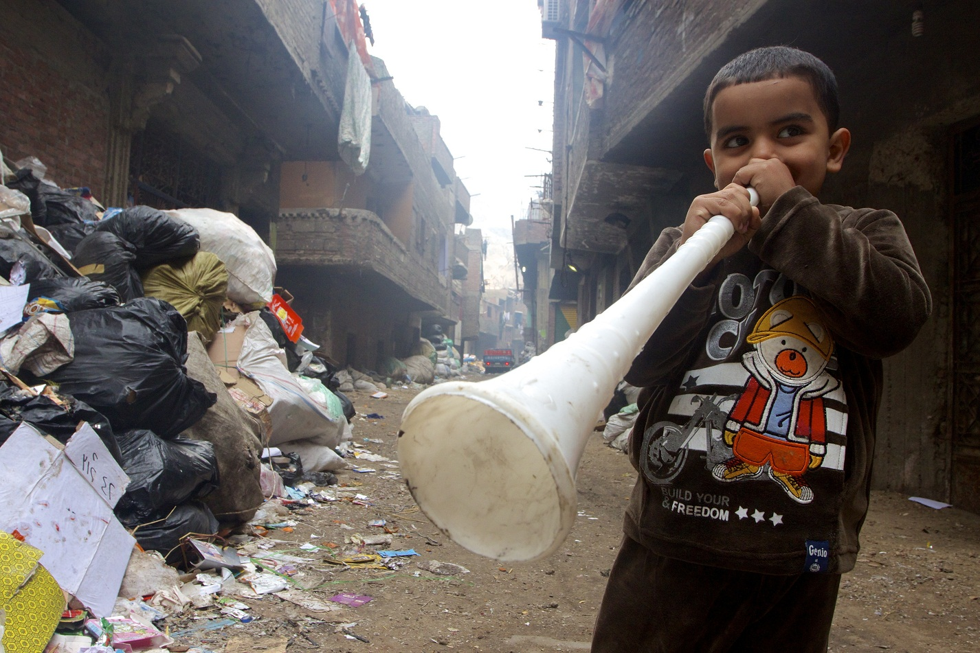 Two AUC students are drawing on lessons from Cairo's Zabaalin community, which has managed to create a system to recycle about 80% of the neighbourhood's trash, for a new trash disposal program (Photo by Elizabeth Stuart)
