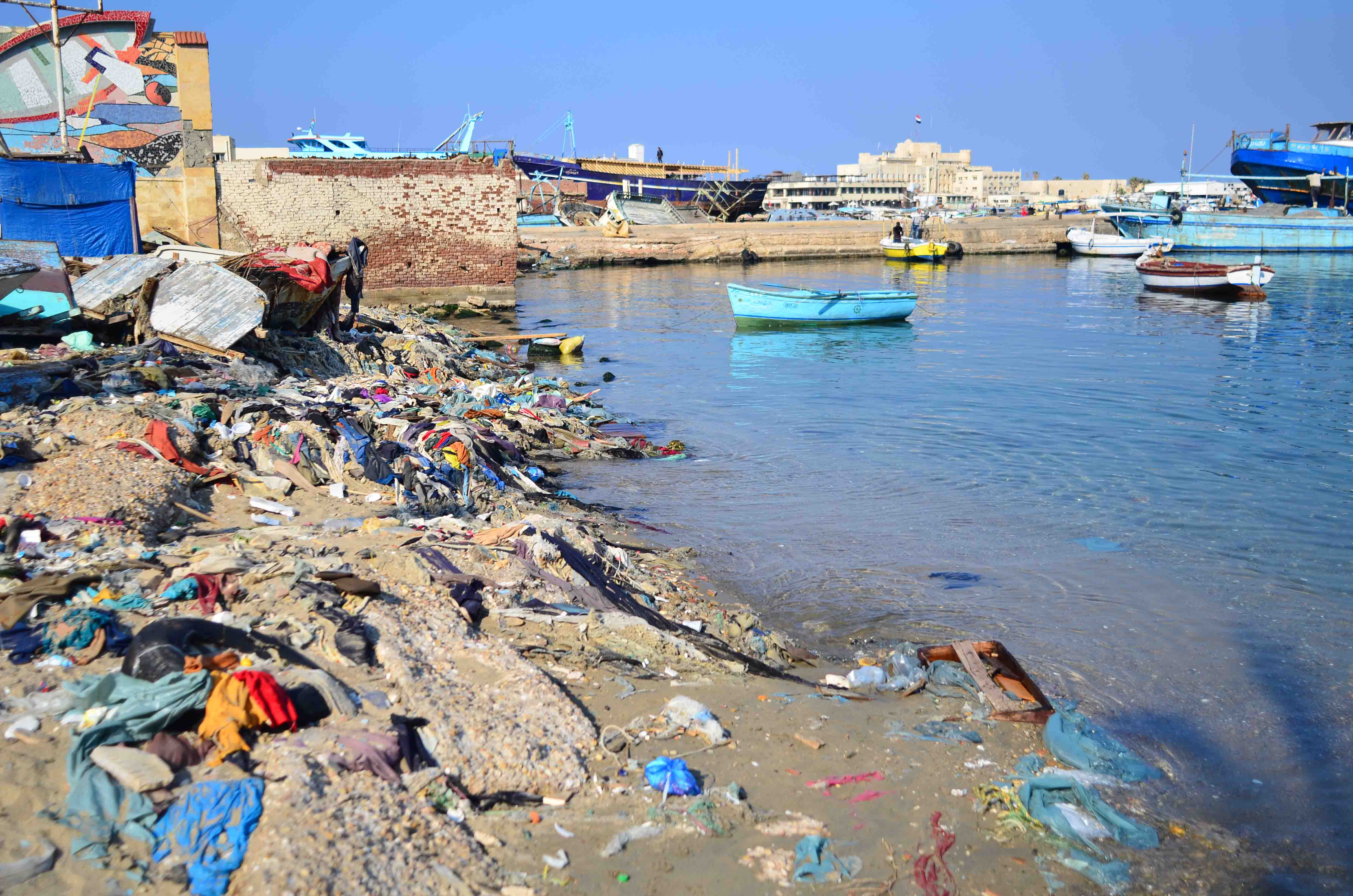 "Litter on the North Coast. The Darb1718's newest art exhibit, called ""Out to Sea? The Plastic Garbage Project"", is part of a year-long awareness campaign that will include clean-up events and exhibitions in Sinai, Cairo, and Alexandria. (Photo by Nadia Mounir )"