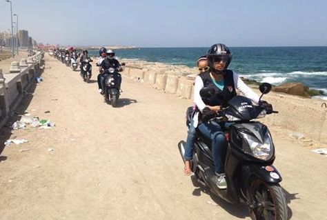 The Alexandria Scooter Riders Club cruises along the coast (Photo Courtesy of Alexandria Scooter Riders Club)