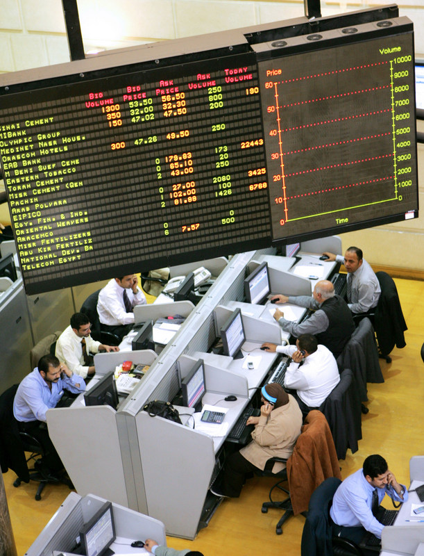 The Egyptian stock exchange (EGX) registered an increase of 1.13% on Monday, with the benchmark EGX 30 index rising to 8,162.20, up from 8,070.76 on Sunday. (AFP File Photo / Khaled Desouki)