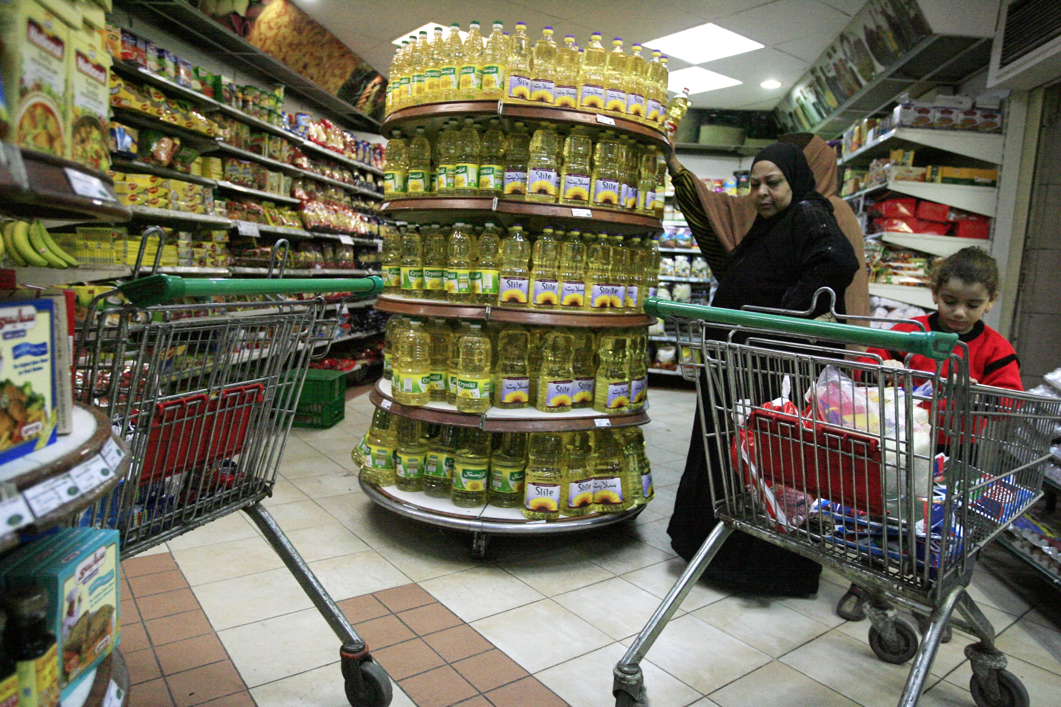 Egyptian consumers and supermarkets stock up on products ahead of June 30 in fear of escalations. (AFP Photo / Khaled Desouki)