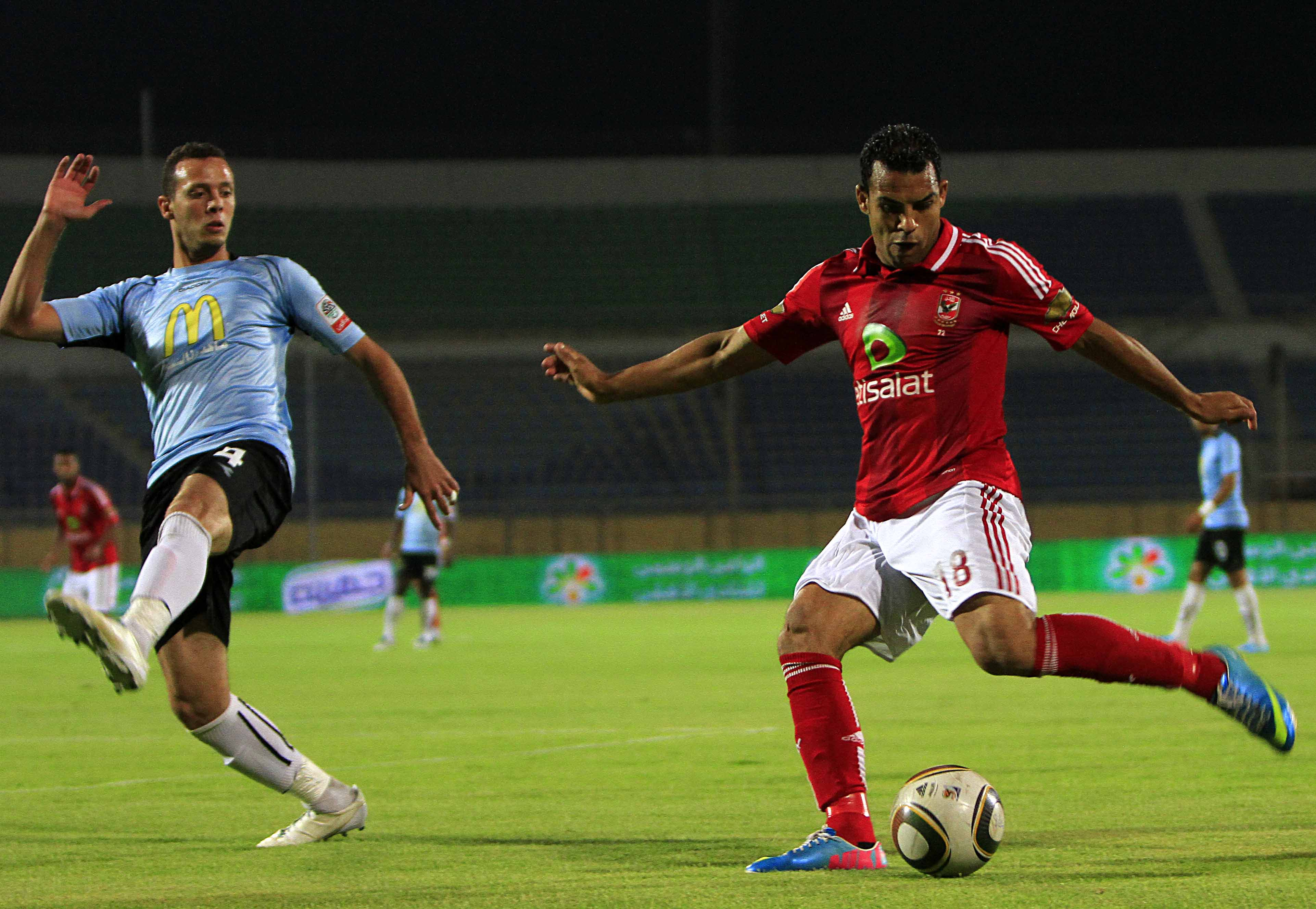 Al-Ahly and Ghazl El-Mahalla battle for possession in a Group A match in May 2013. It is unclear when the new season will start following the postponement of the fixtures draw (Photo by Ahmed Al-Malky)