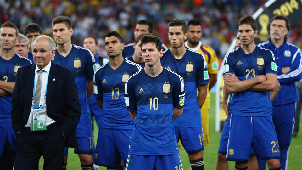 Head coach Alejandro Sabella of Argentina looks on with his team after being defeated by Germany 1-0 during the 2014 FIFA World Cup Brazil Final match between Germany and Argentina at Maracana on July 13, 2014 in Rio de Janeiro, Brazil.  (Photo by Martin Rose/Getty Images)