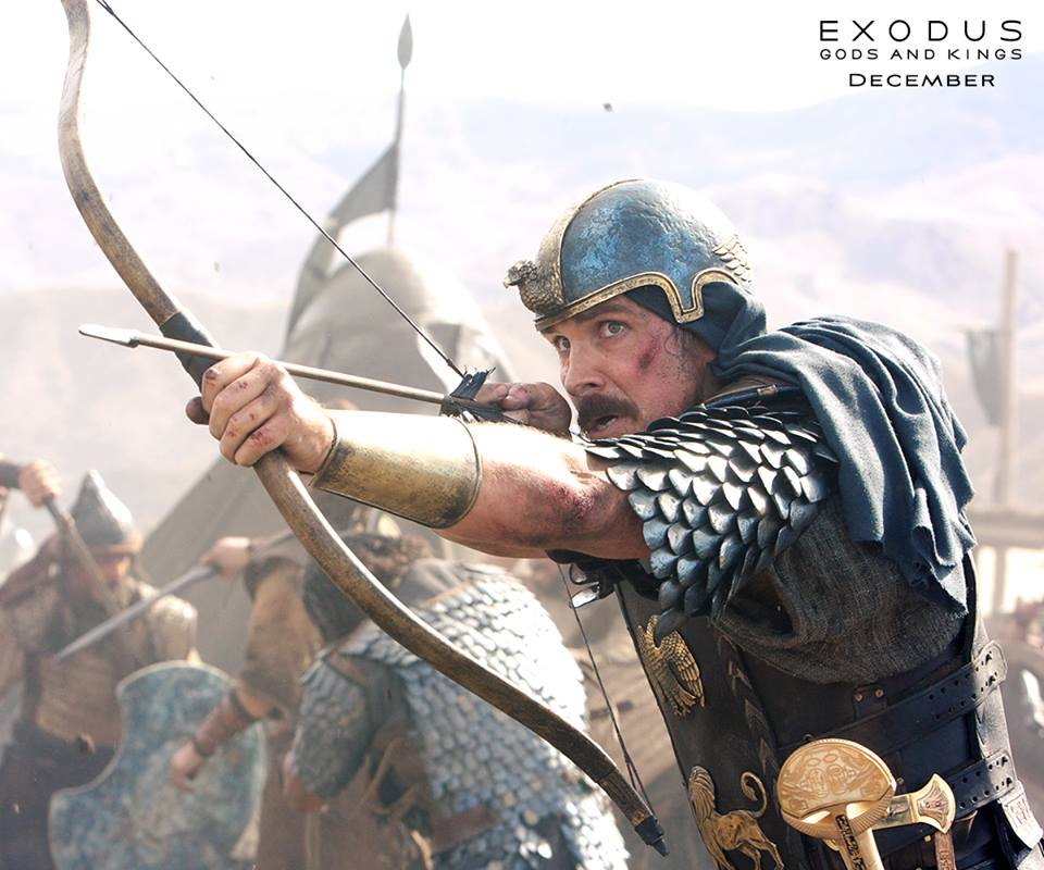 """Christian Bale portraying Moses in an action scene from the film """"Exodus: Gods and Kings""""."""