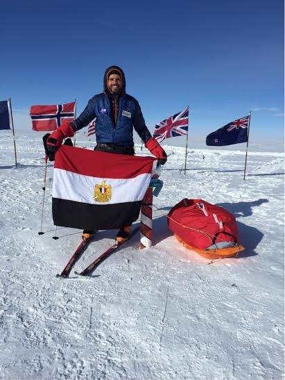Omar Samra rises the Egyptian Flag over the South Pole  (Photo Handout from Omar Samra PR Team)