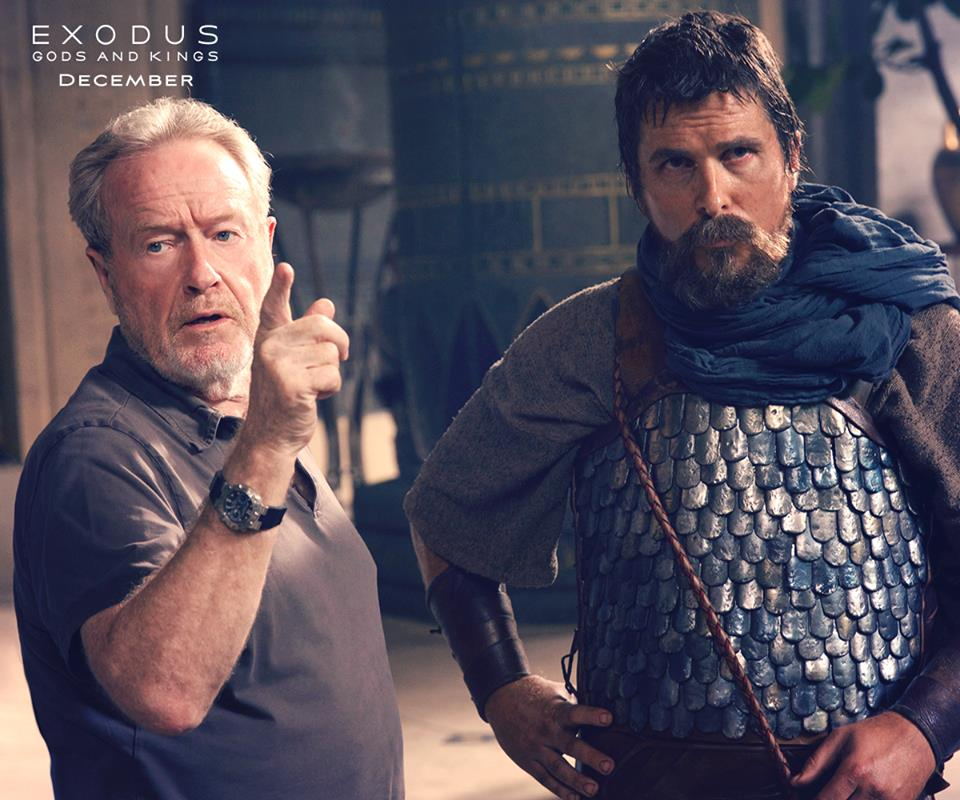 """Director Ridely Scott with actor Christian Bale behind the scenes for the film """"Exodus: Gods and Kings""""."""