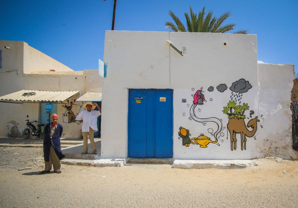 "150 artists of 30 nationalities ""leave their mark"" on building walls of Erriadh village  (Photo by Aline Deschamps)"