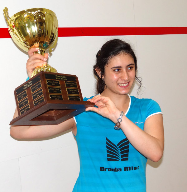 Nour El Sherbini with the Women's Champion Fiberglass Texas in April. She was knocked out of the British open on Tuesday by unseeded Emma Beddoes 11-5, 7-11, 11-6, 11-9 in 50 minutes. (Photo by Martin Langley)