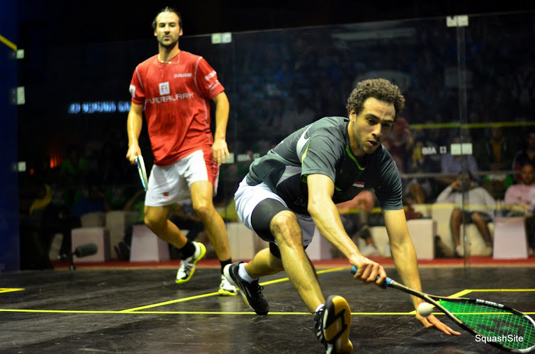 Defending champion Ramy Ashour in action during his 3-0 victory over Simon Rosner in El Gouna (Photo from SquashSite/Steve Cubbins)