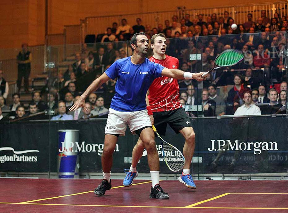 Amr Shabana pulled off the upset of the tournament so far at the J.P Morgan Tournament of Champions earlier today, defeating World No.1 Nick Matthew (Photo from squashpics.com)