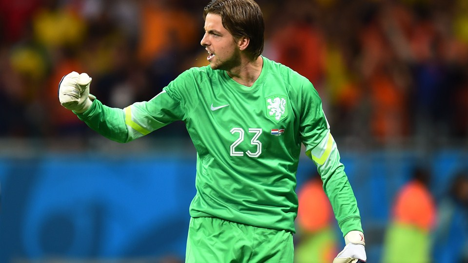 Tim Krul of the Netherlands reacts after making a save in a penalty shootout against Bryan Ruiz of Costa Rica during the 2014 FIFA World Cup Brazil Quarter Final match between the Netherlands and Costa Rica at Arena Fonte Nova on July 5, 2014 in Salvador, Brazil.  (Photo by Jamie McDonald/Getty Images)