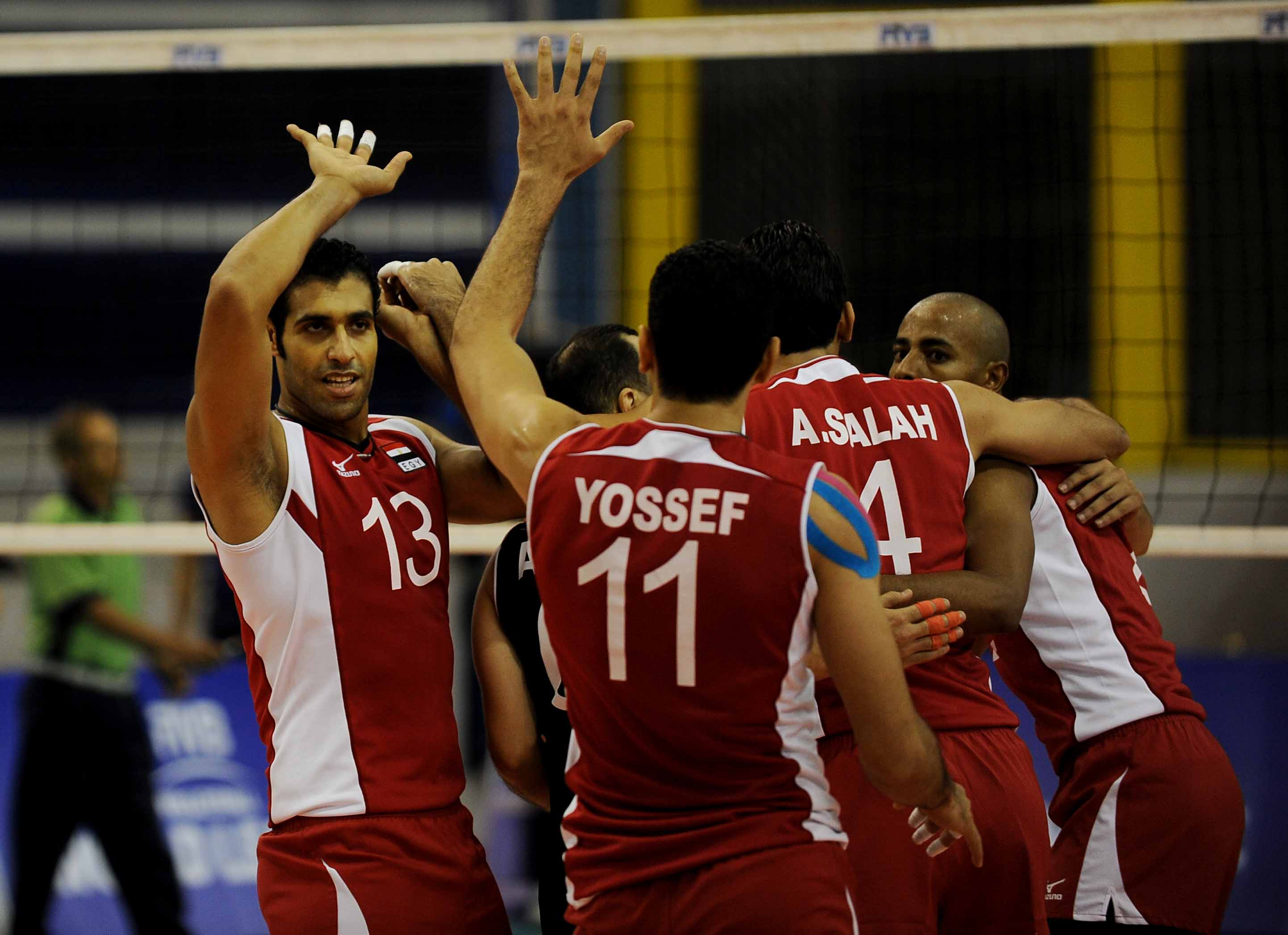Egyptian Men Volleyball team, during their match against the Moroccan team  ( Photo courtesy of Volleyball International Federation website)