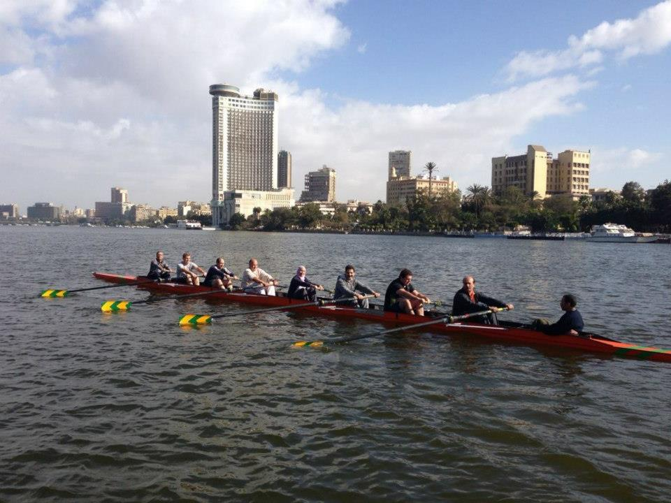 There are a number of different rowing clubs along the Corniche  (Photo Courtesy of the Egyptian Rowing club)