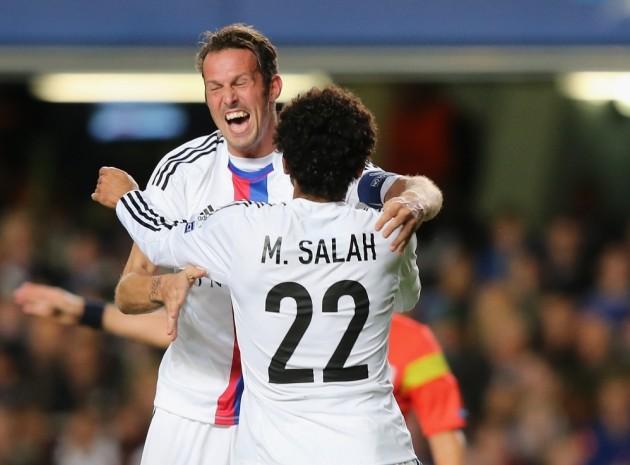 Egyptian player, Mohamed Salah celebrates Basel FC second goal against Chelsea FC last Wednesday.  (GETTY IMAGES PHOTO)