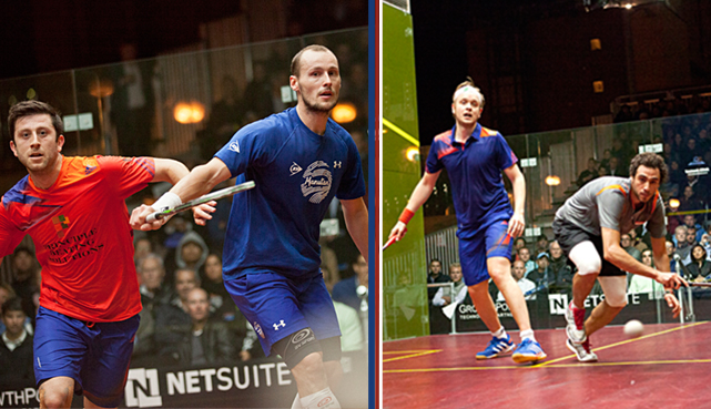 Ramy Ashour, right, during his semi-final game with James Willstrop  ( Photo courtesy of 2013 NetSuite Open Squash Championship website)
