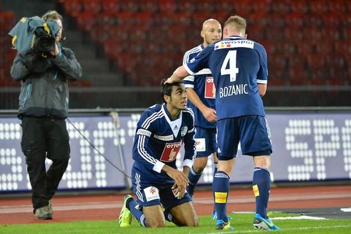 "Mahmoud Abdel Moneim ""Kahraba"" celebrating the goal he scored for Swiss side Luzern FC against FC Zurich – PHOTO COURTESY OF LUZERN FC WEBSITE"