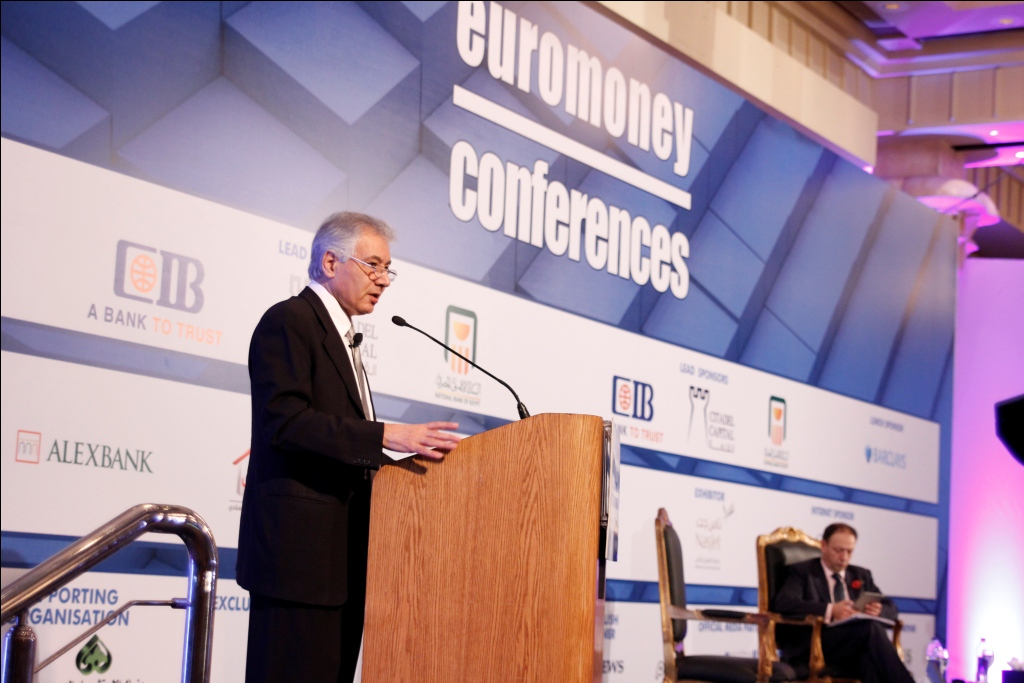 Minister of Finance Ahmed Galal during his speech at the Euromoney Conference 2013  held in Cairo on Monday (DNE Photo)