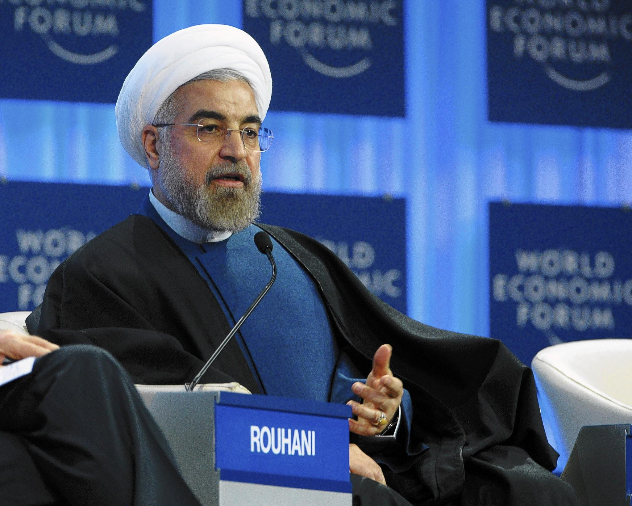 Iranian President Hassan Rouhani addresses the World Economic Forum in Davos on Thursday. (AFP Photo)